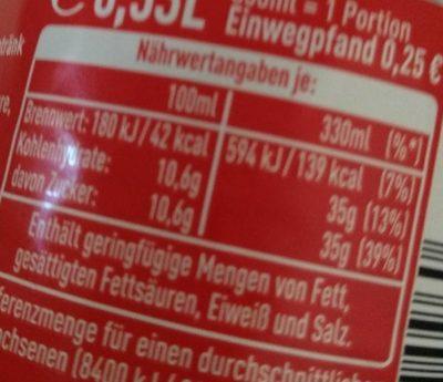Coca Cola - Nährwertangaben - de