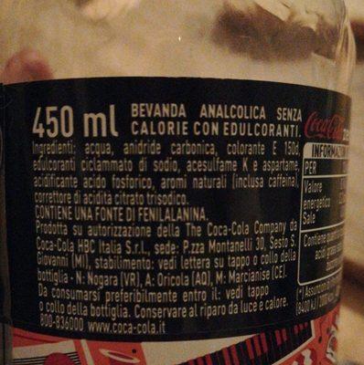 Coca Cola Zero Zucker - Ingredienti - it
