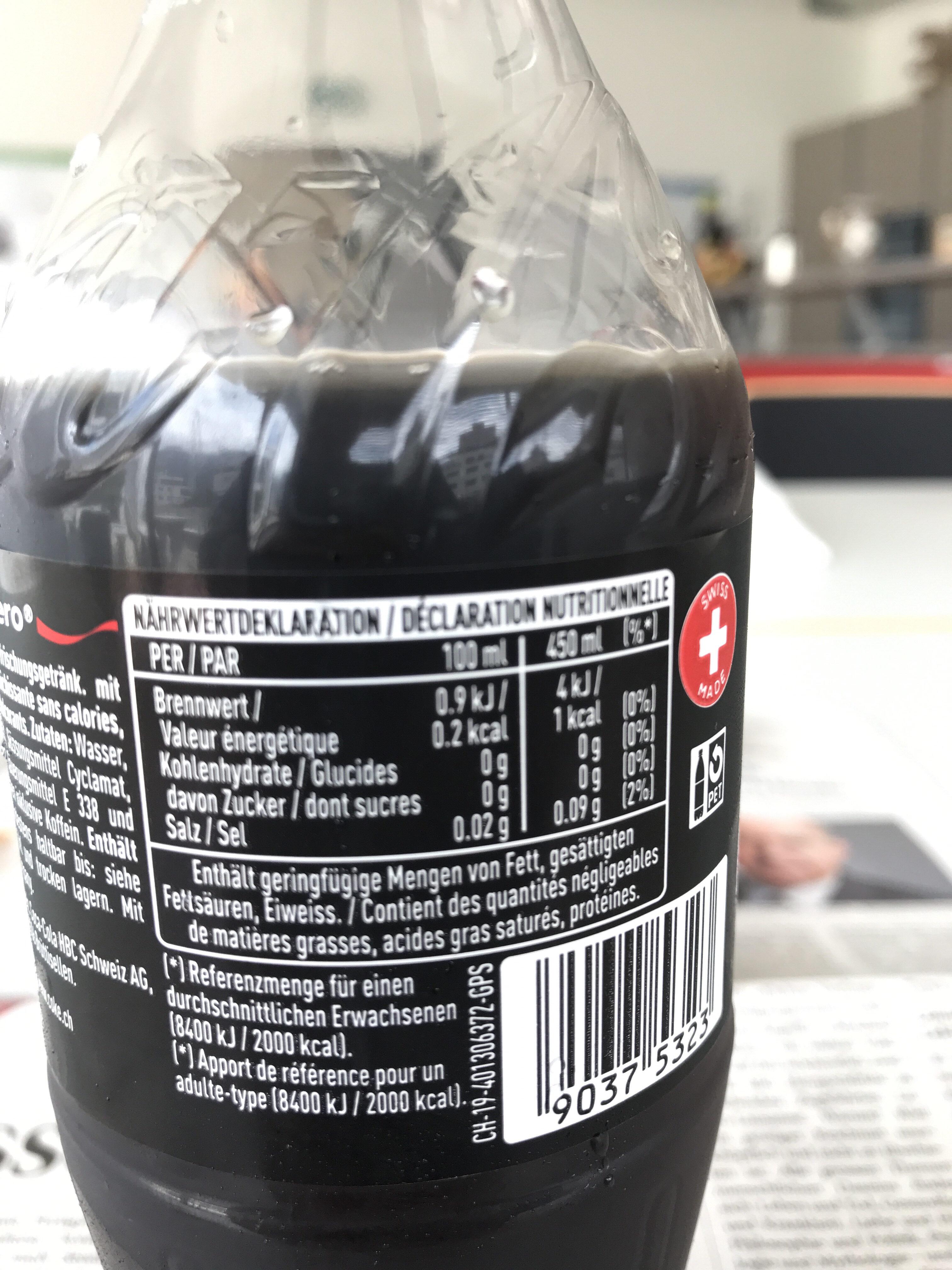 Coca Cola Zero Zucker - Informazioni nutrizionali - de