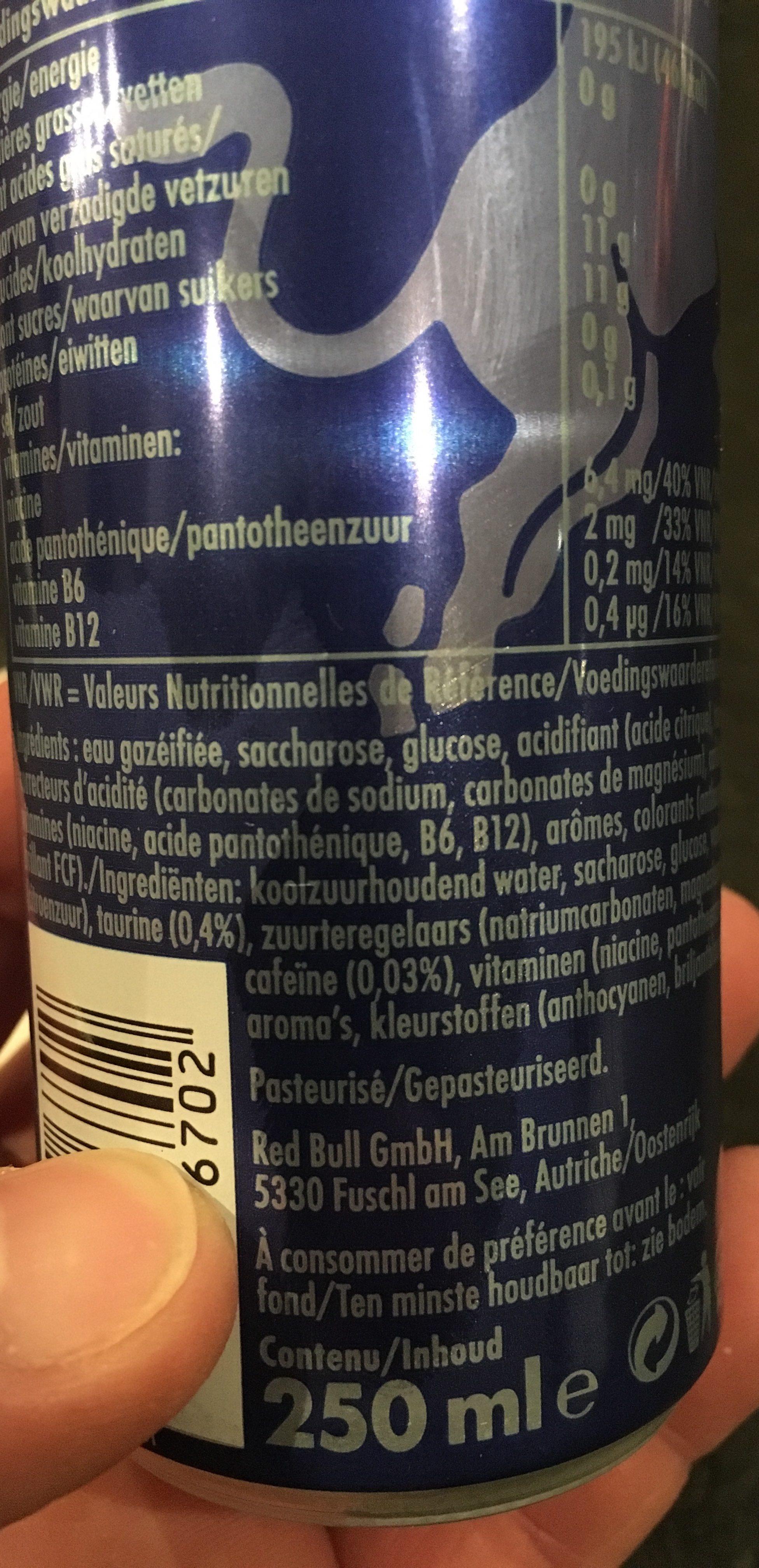 Red Bull Energy Blue Cans 25CL - Ingrediënten
