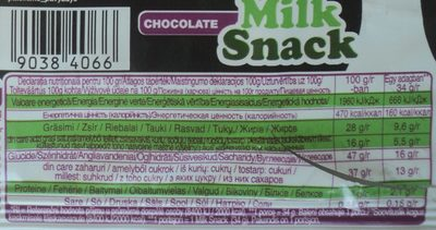 Dancing Cow Pandispan imbracat in ciocolata cu umplutura cu lapte - Nutrition facts - ro