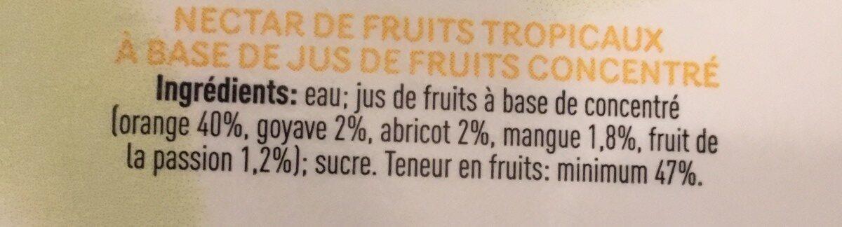Tropical - Ingrediënten - fr