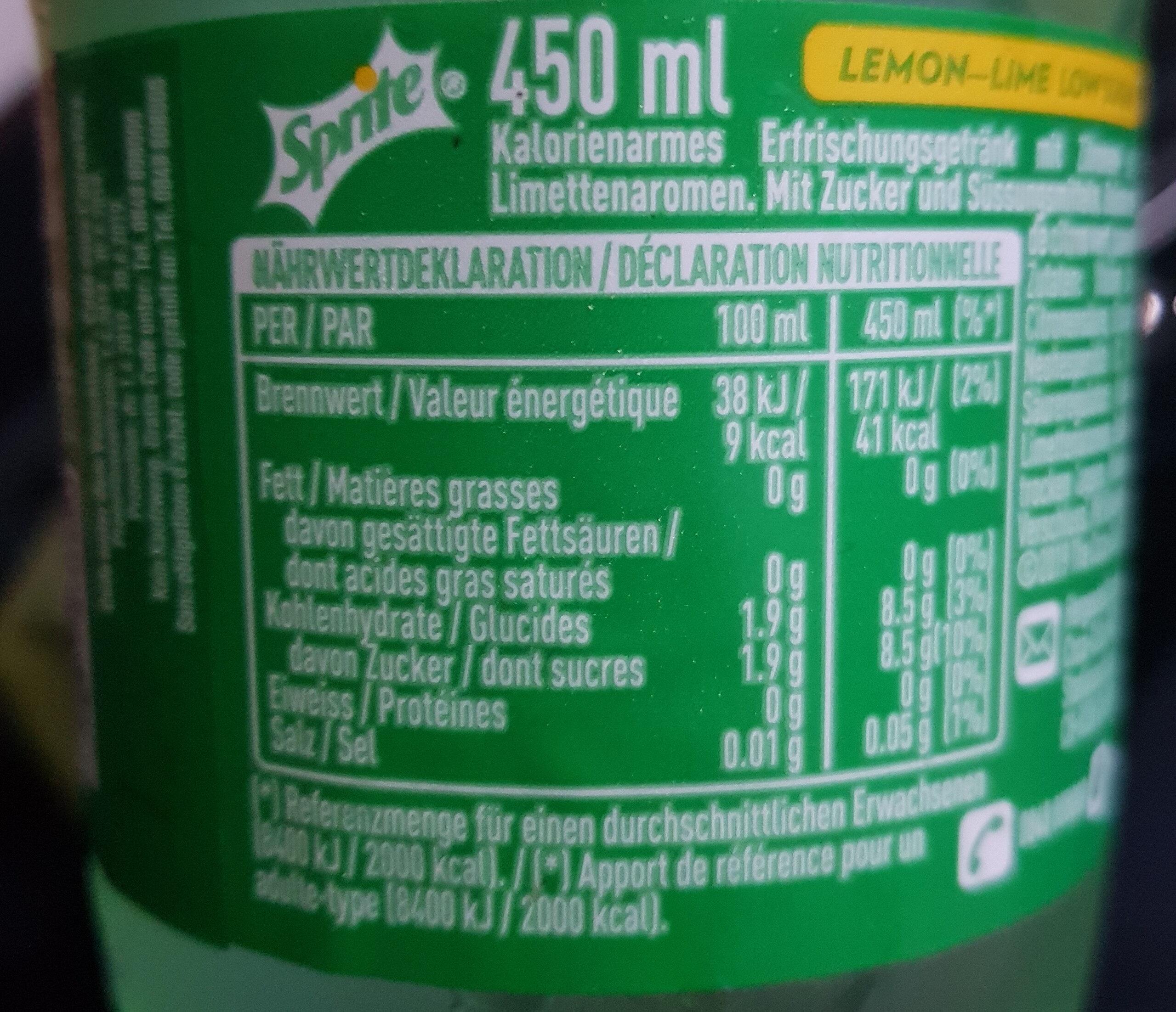 Sprite lemon lime low sugar - Voedingswaarden - fr