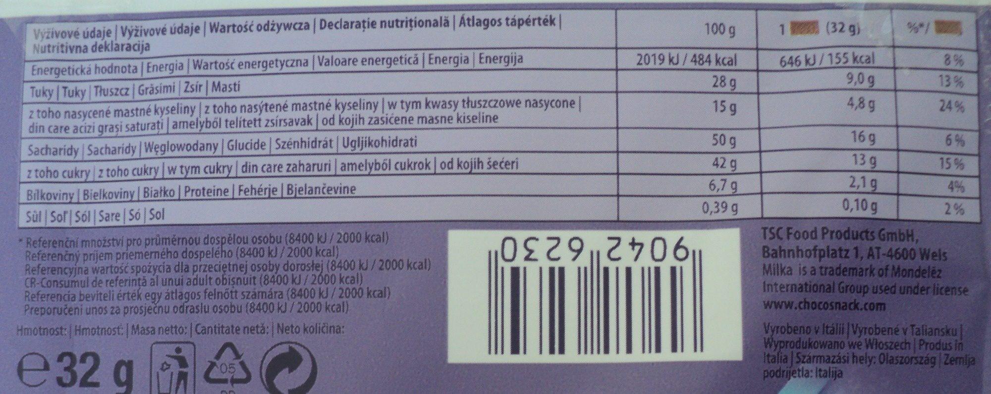 Milka Choco Snack - Wartości odżywcze - ro