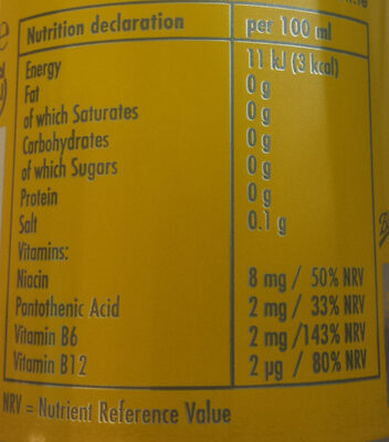 Red Bull Tropical Edition Sugarfree - Nutrition facts