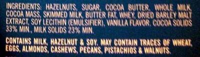 Swiss Milk Chocolate with 30% whole hazelnuts - Ingredients