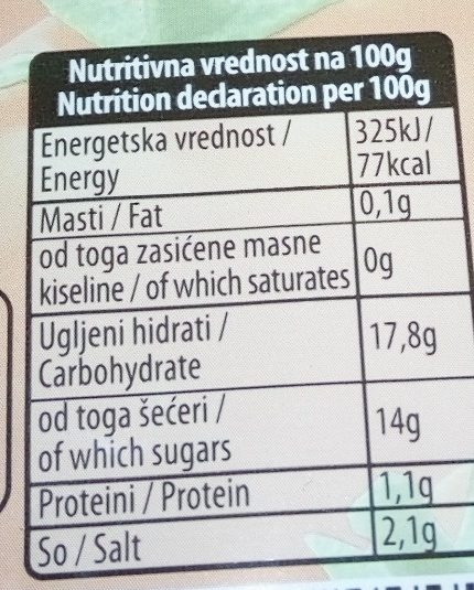 Ketchup blagi - Informations nutritionnelles