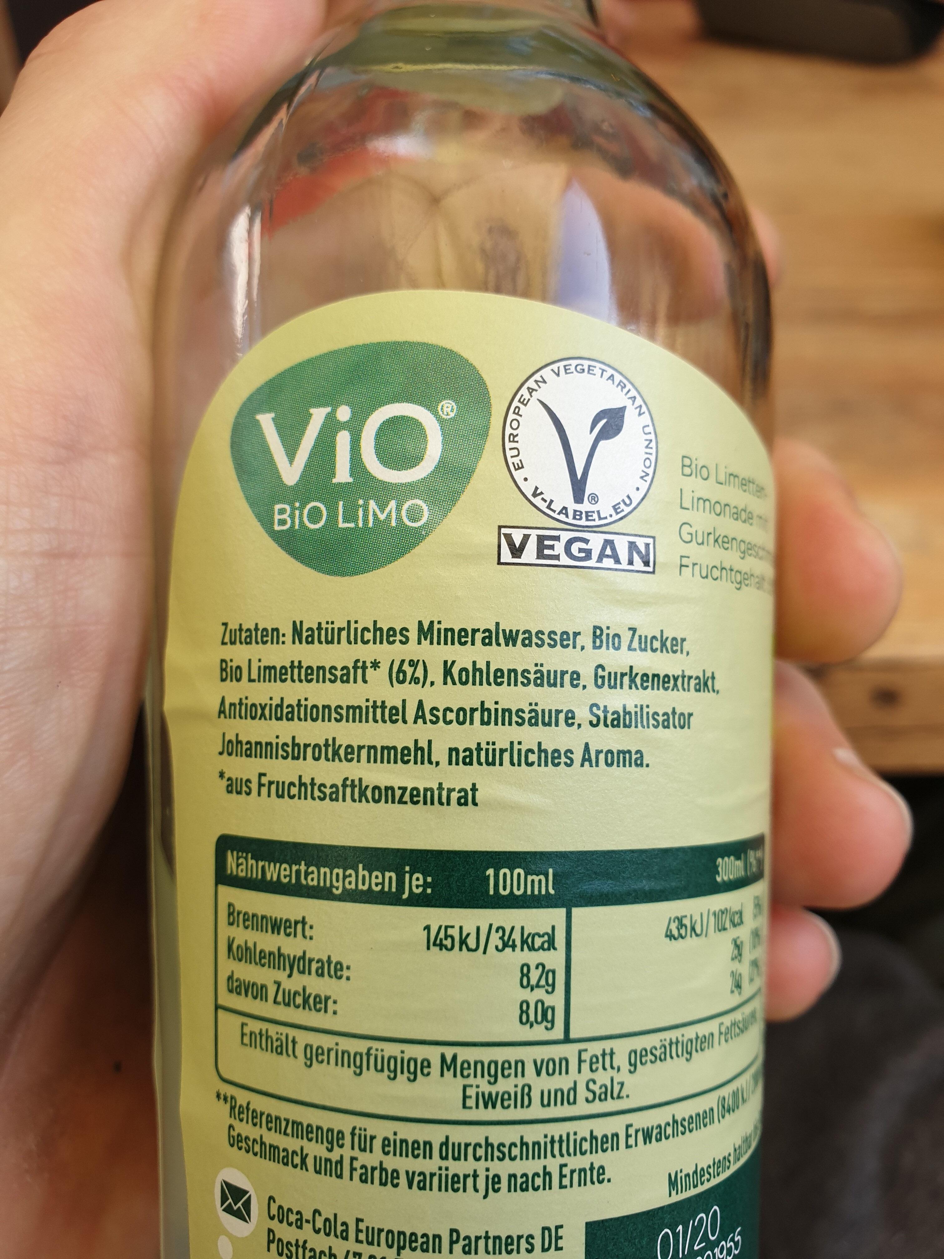 ViO BiO Limo Limette Und Gurke - Ingredienti - de