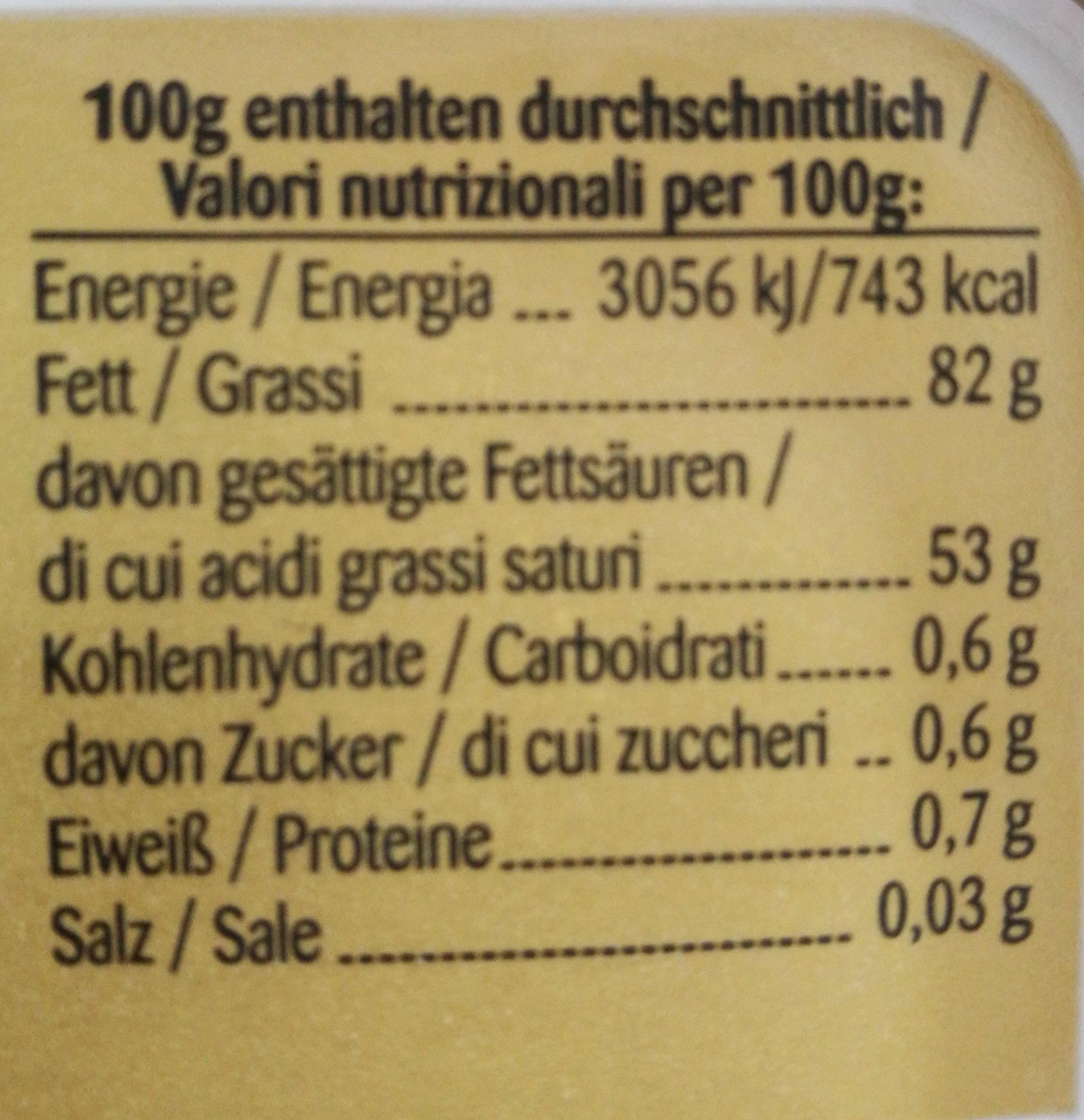 Primina die streichweiche Butter - Informations nutritionnelles