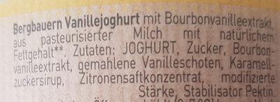 Bergbauern Joghurt Vanille - Ingredients - de