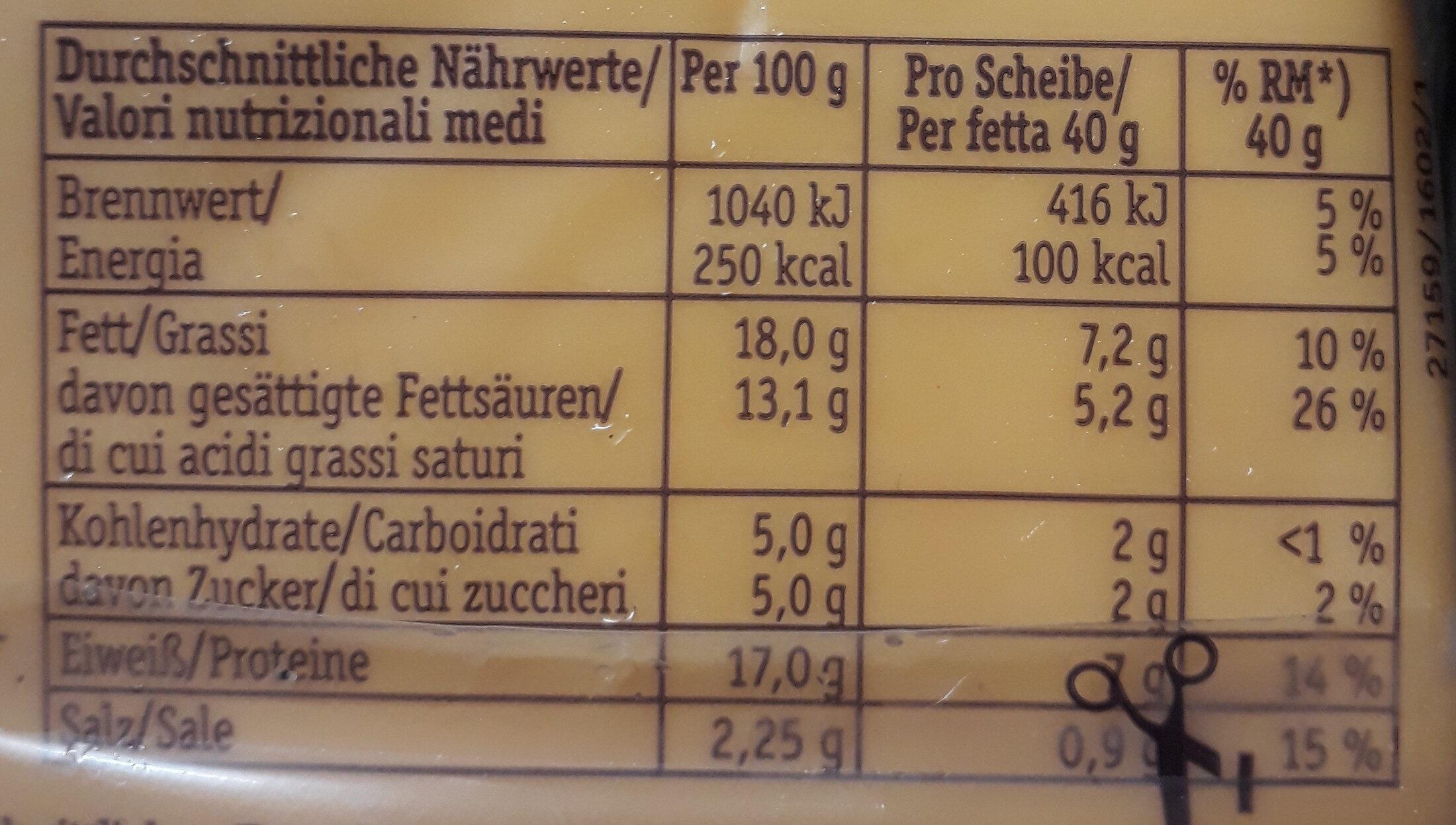 XXL Burger Scheiben - Informations nutritionnelles - de