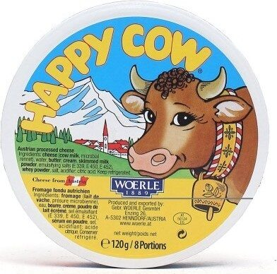 Happy Cow Portion Cheese Woerle 1889 120g 8 Portions