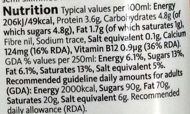British Semi Skimmed Milk - Informations nutritionnelles - en