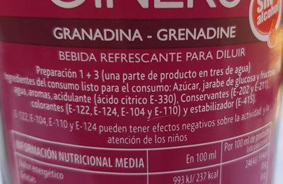 Grenadine - Ingredientes
