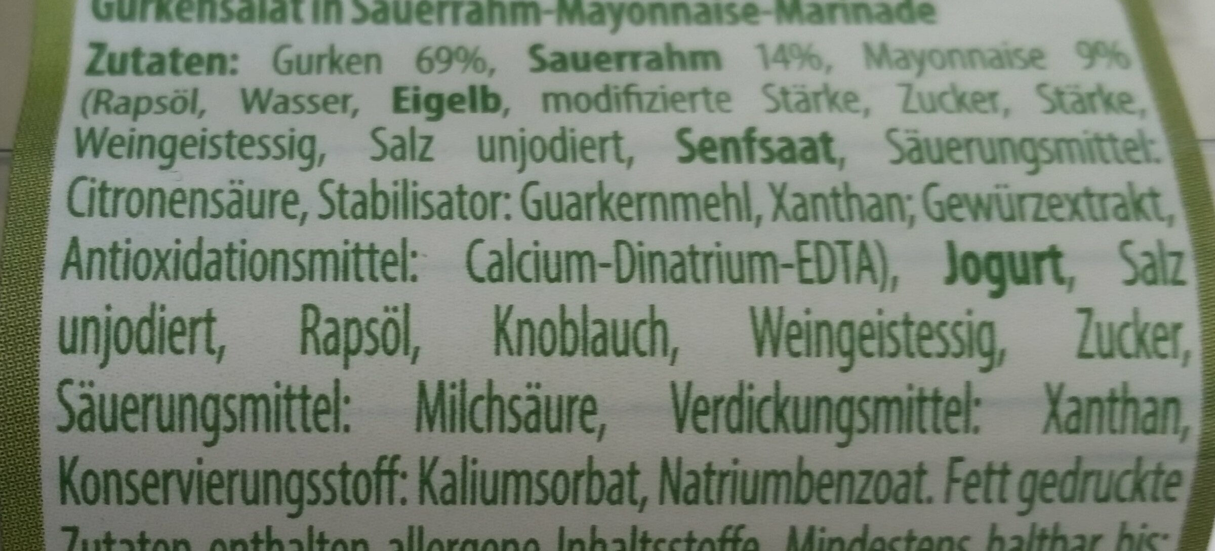 Gurkensalat im Sauerrahm-Dressing - Ingredients