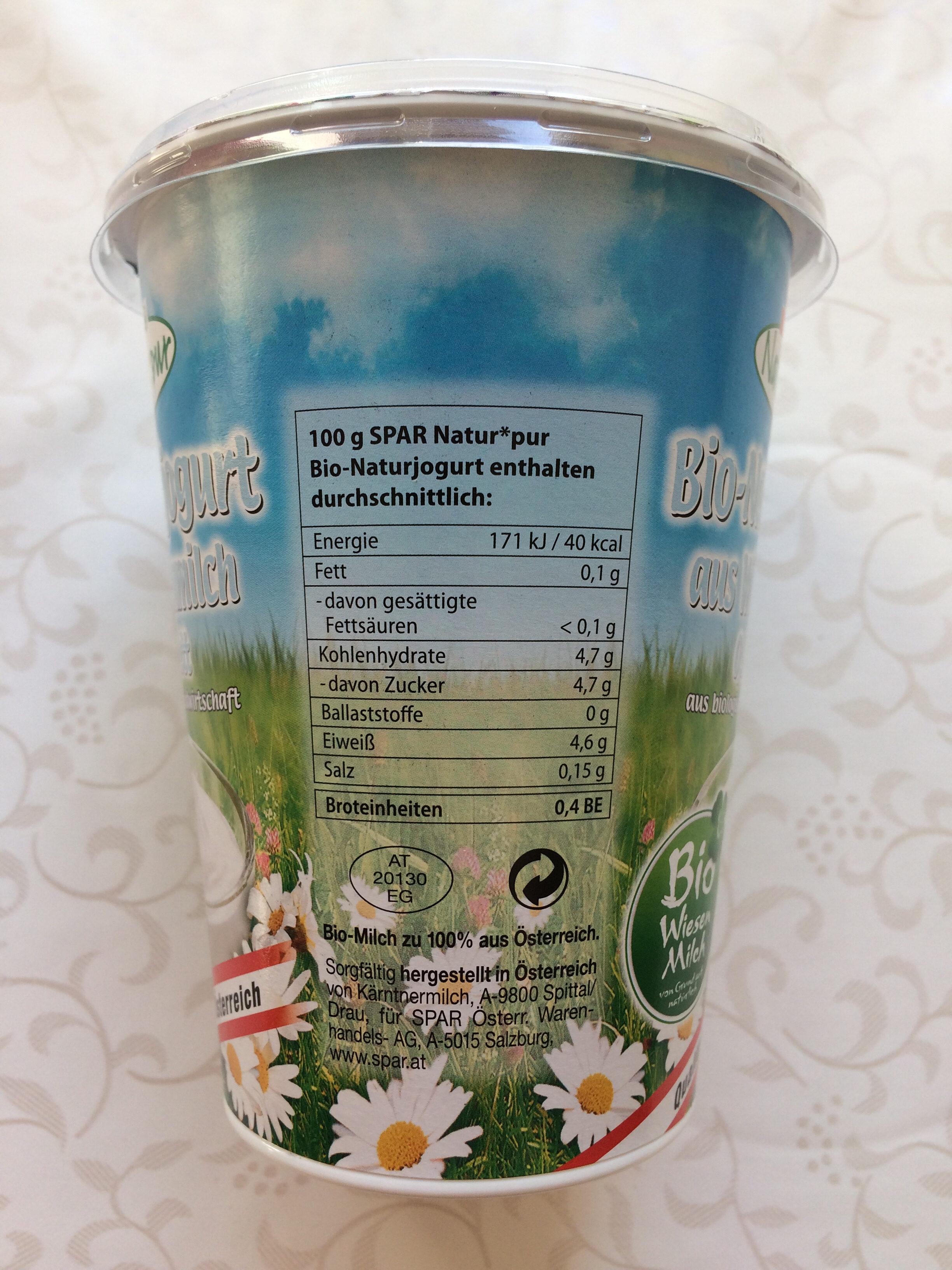 Bio-Naturjogurt aus Wiesenmilch - Nutrition facts - de
