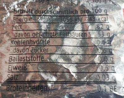 Österreichische Teebutter - Informations nutritionnelles
