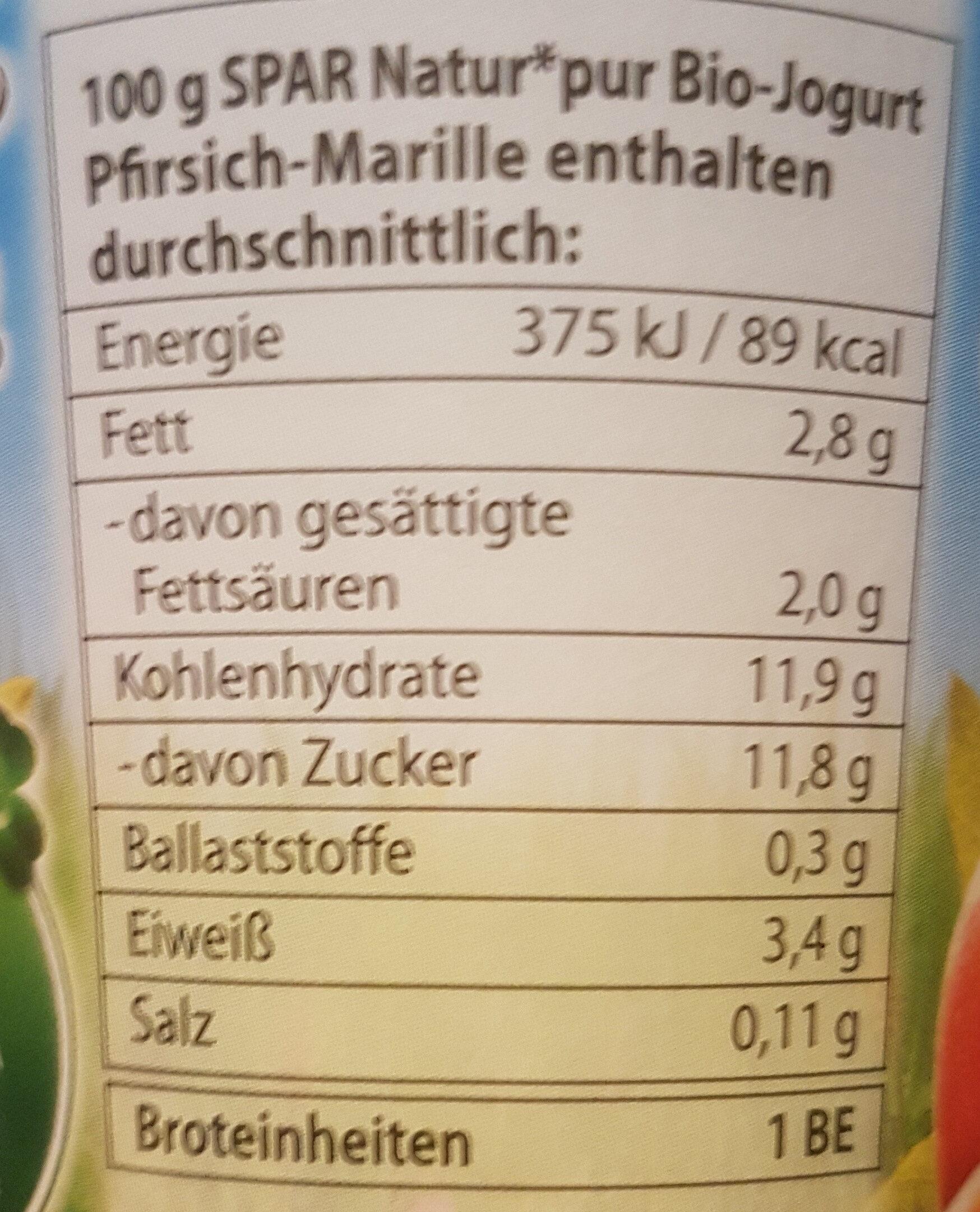 Bio-Jogurt Pfirsich-Marille - Informations nutritionnelles - de