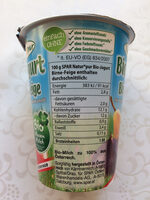 Bio-Jogurt Birne-Feige - Nutrition facts - de