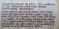 Kondenzirano mleko - Ingredients
