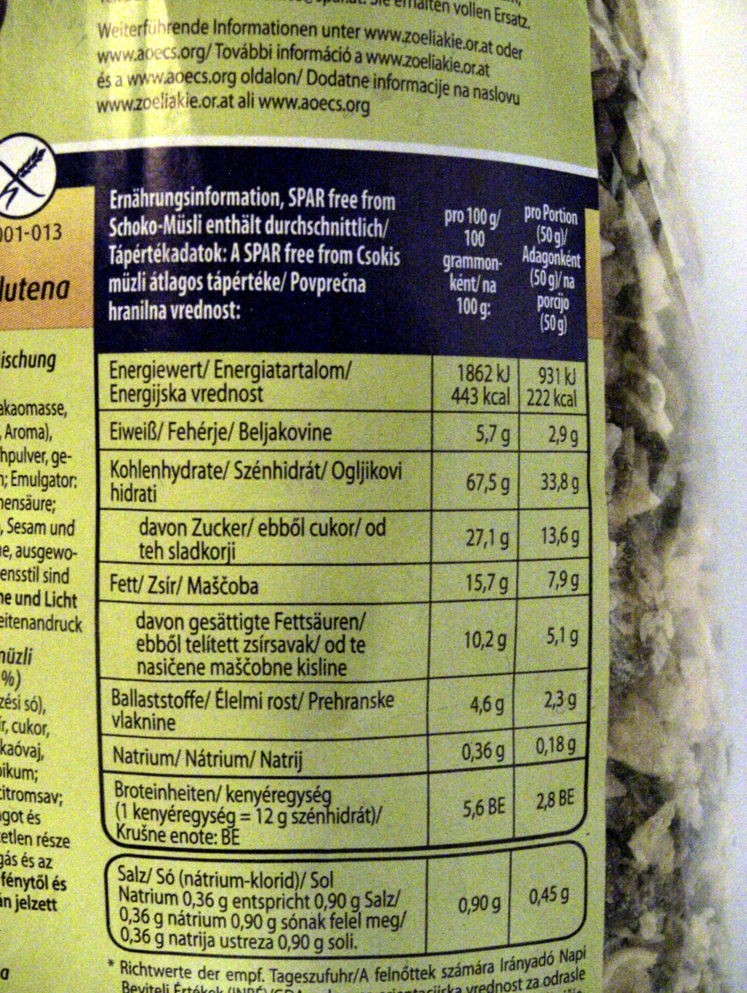 Schoko-Müsli glutenfrei - Informations nutritionnelles - de