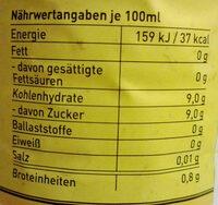 Tonic Water - Informations nutritionnelles - de
