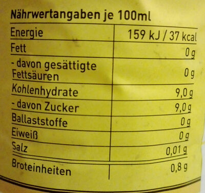 Tonic Water - Informations nutritionnelles