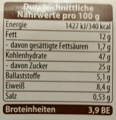 Mohn-Strudel - Nutrition facts