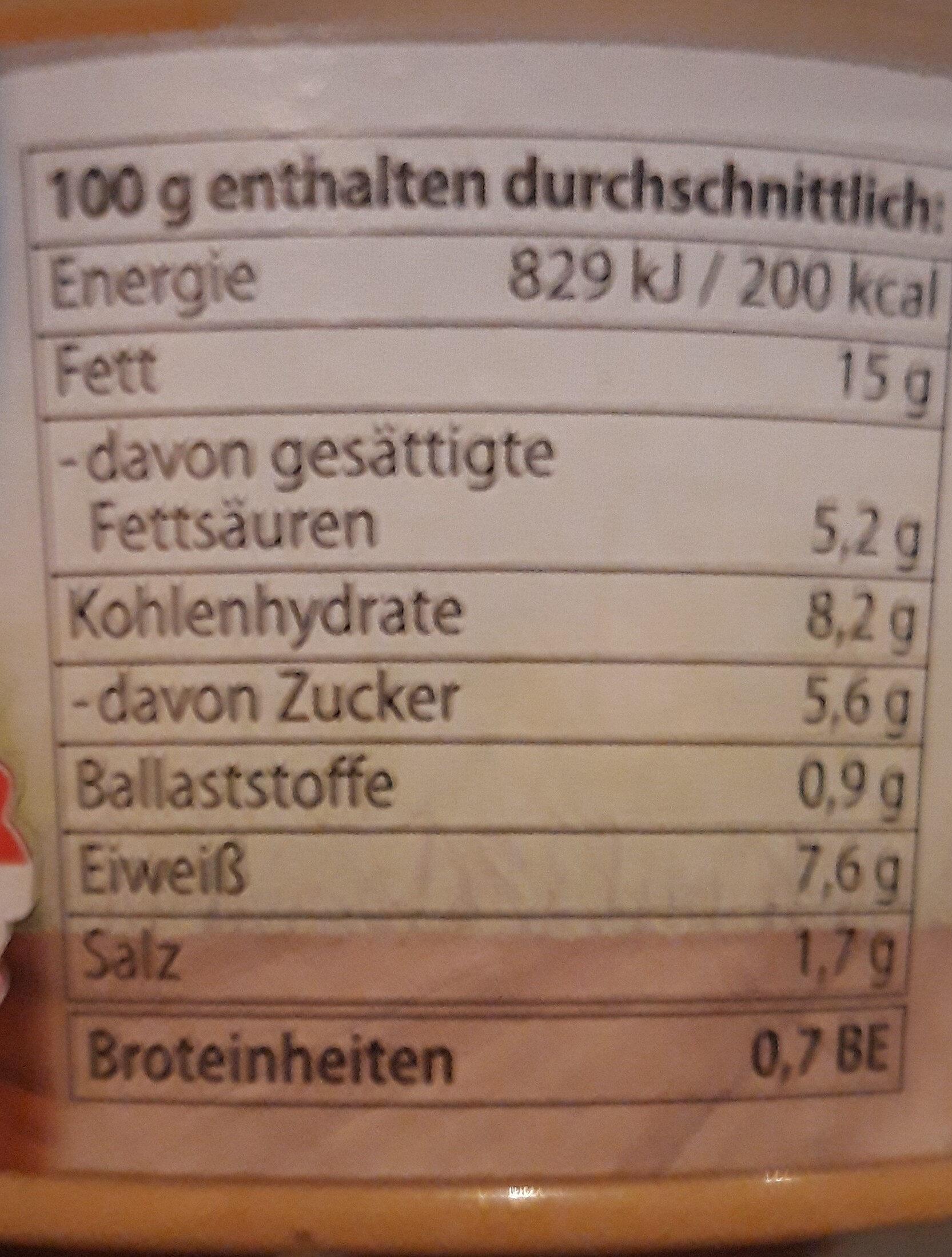 Bio-Topfenaufstrich getrocknete Tomate - Informations nutritionnelles - de