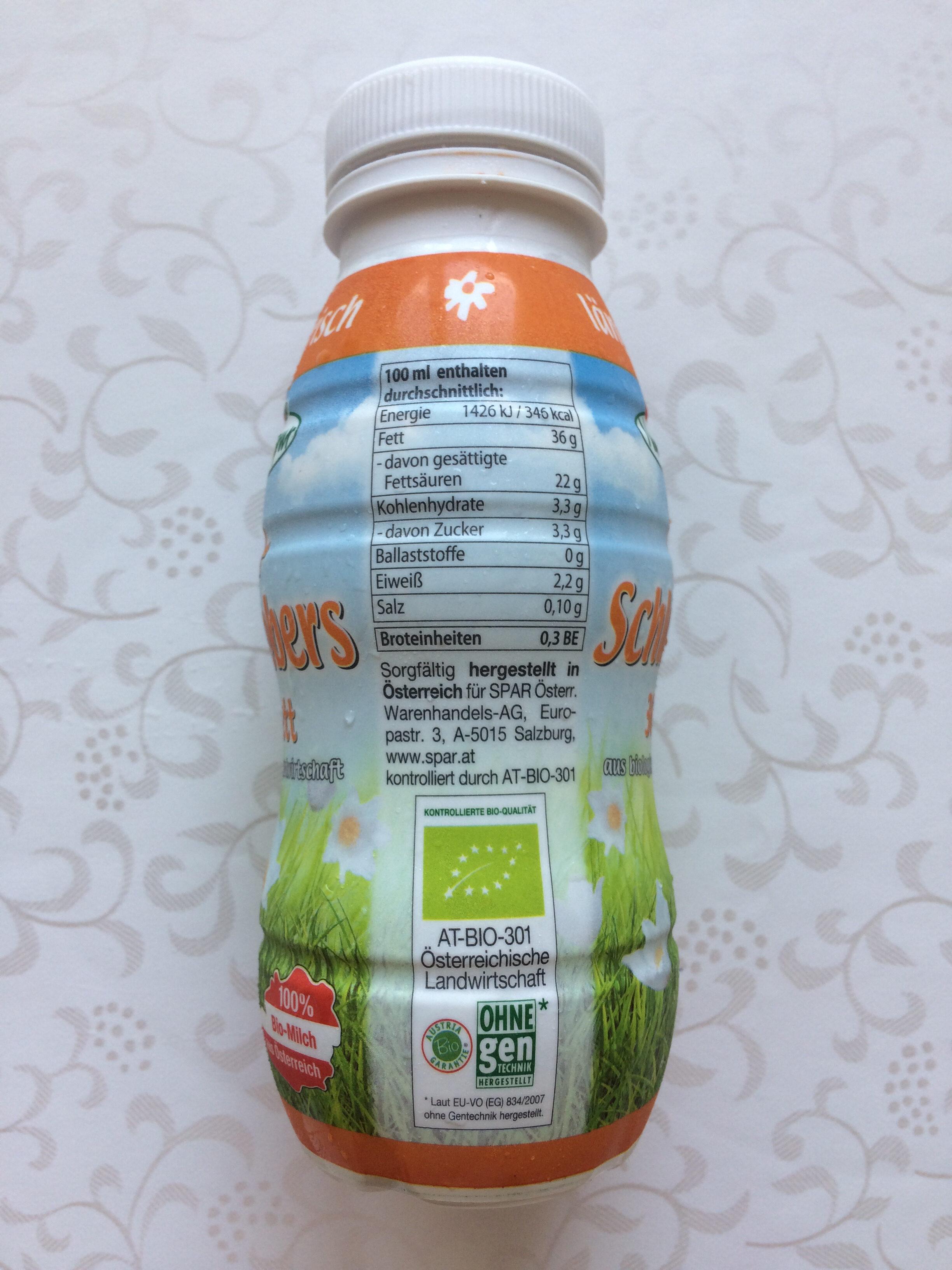 Bio-Schlagobers 36% Fett - Nutrition facts - de