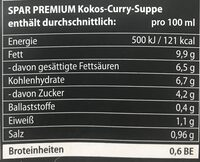 Kokos-Curry-Suppe mit Portwein verfeinert - Informations nutritionnelles - de
