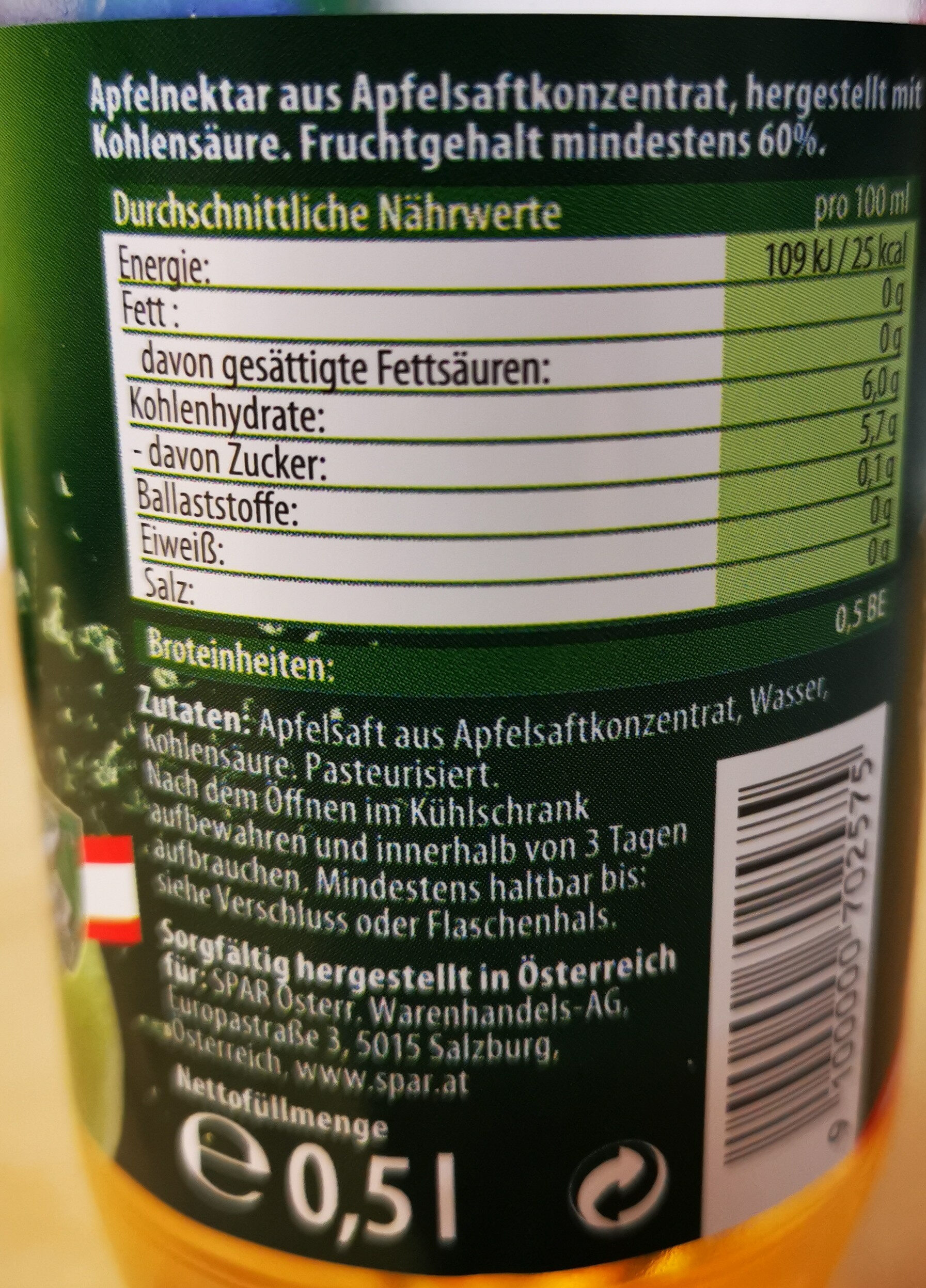Apfelsaft gespritzt - Ingredients - de