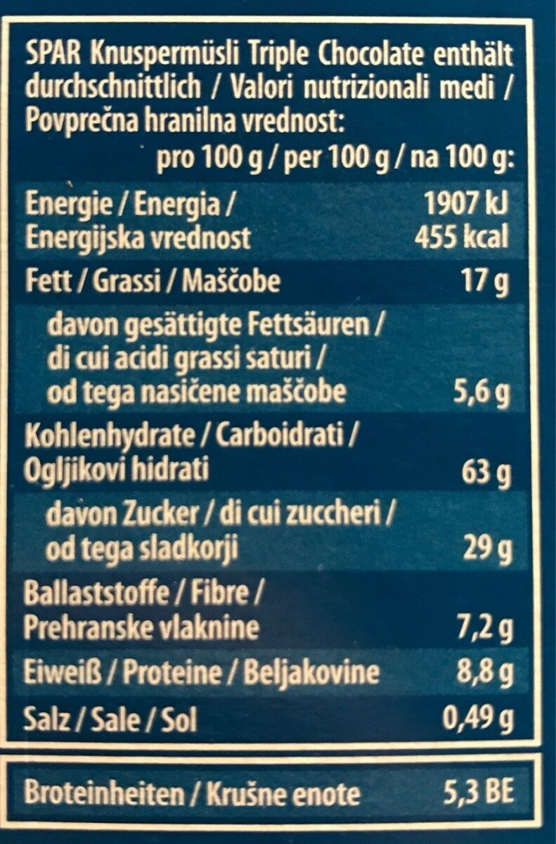 Knusper Müsli Triple Chocolate - Nährwertangaben - de