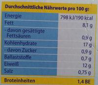 Fischstäbchen - Informations nutritionnelles - de