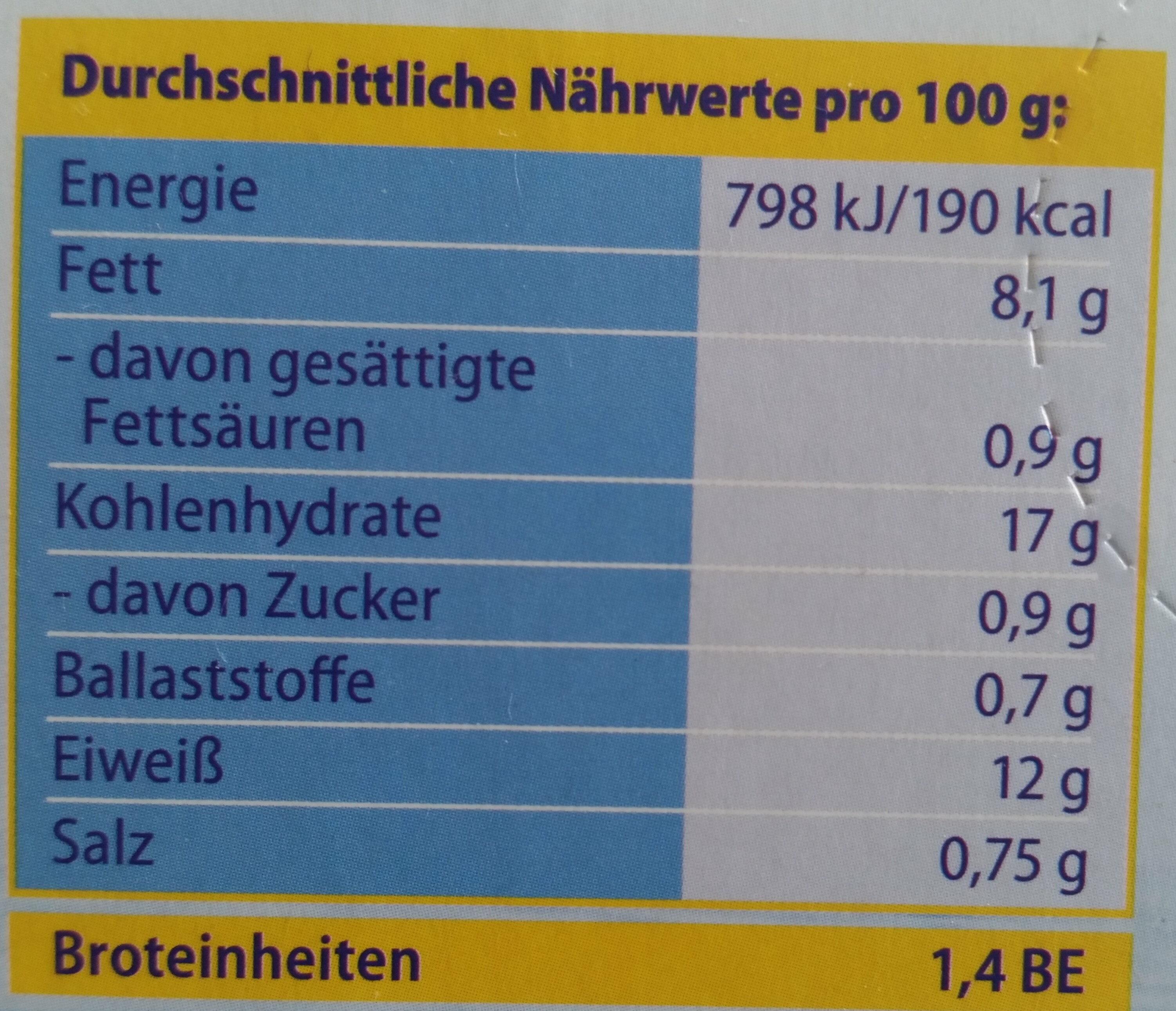Fischstäbchen - Informations nutritionnelles