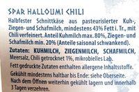 Spar Halloumi Zypriotischer Grill-& Bratkäse Chili - Ingrédients
