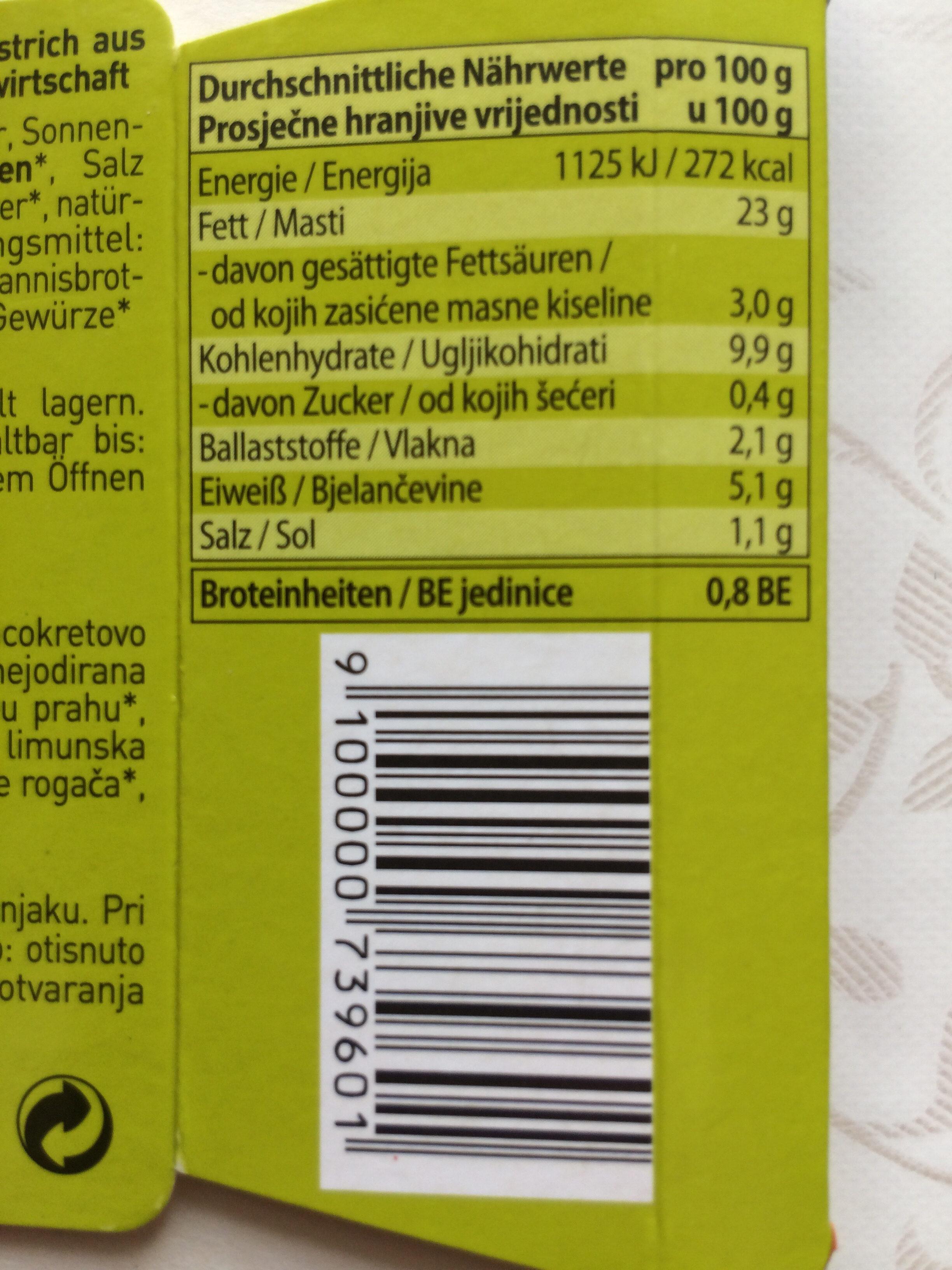 Hummus - Informations nutritionnelles - fr