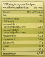 Veganes Bio-Gyros - Informations nutritionnelles - de