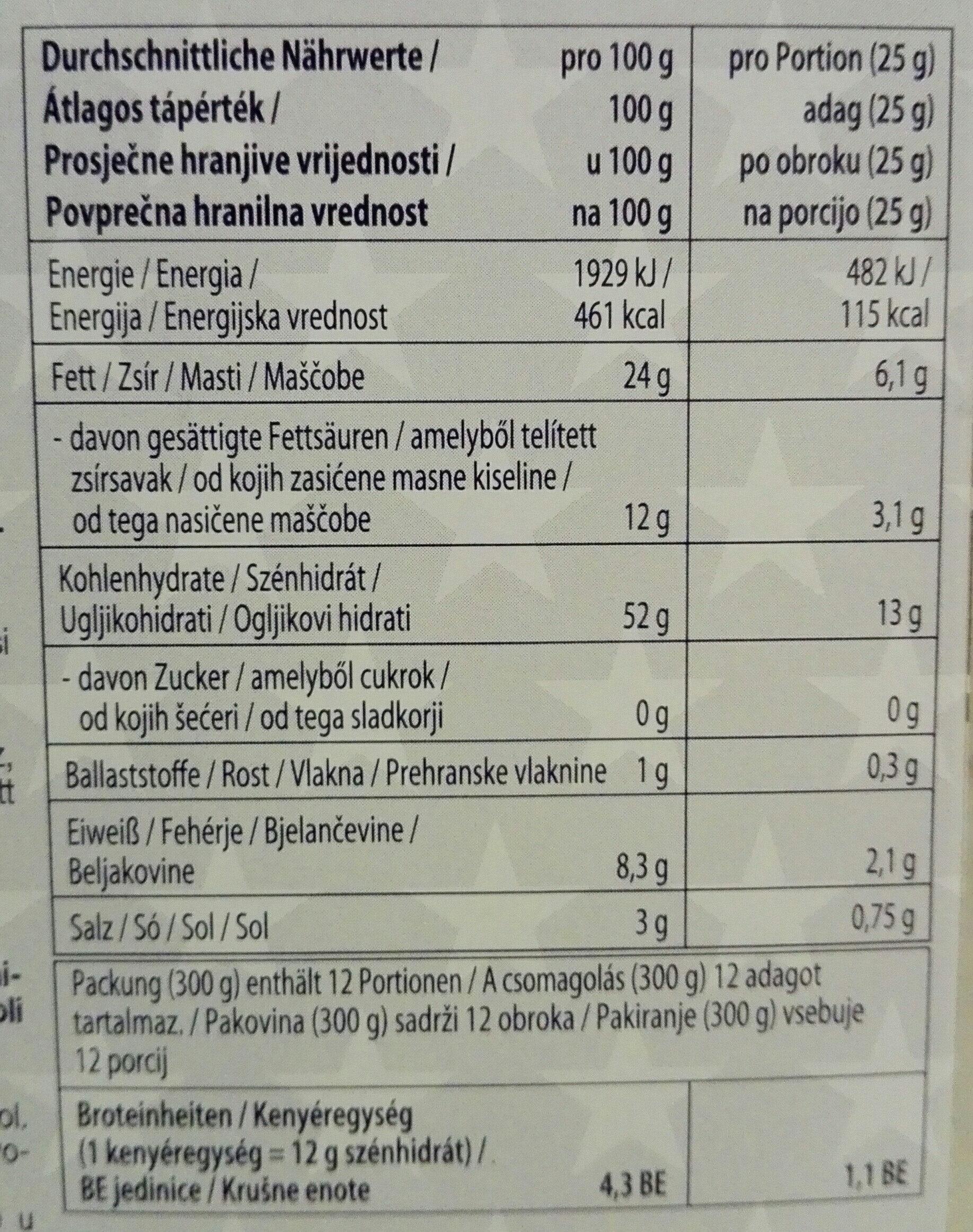 Popcorn - Informations nutritionnelles