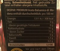 Vinaigre de basalmique - Nährwertangaben - fr