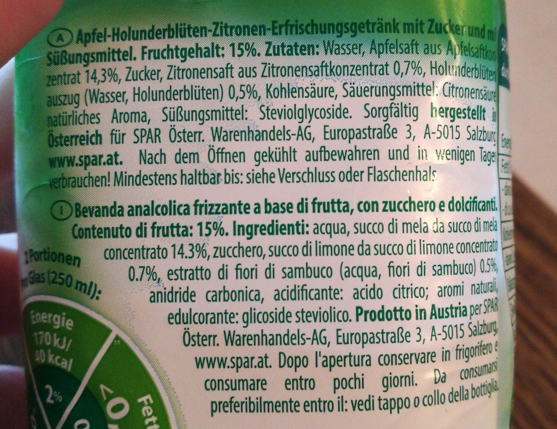 Apfel Holunder-Blüte - Ingredients