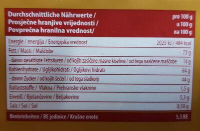 Caramel Biscuit - Informations nutritionnelles