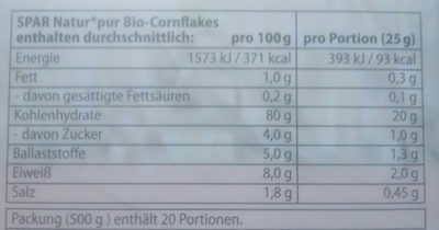 Bio-Coenflakes - Informations nutritionnelles