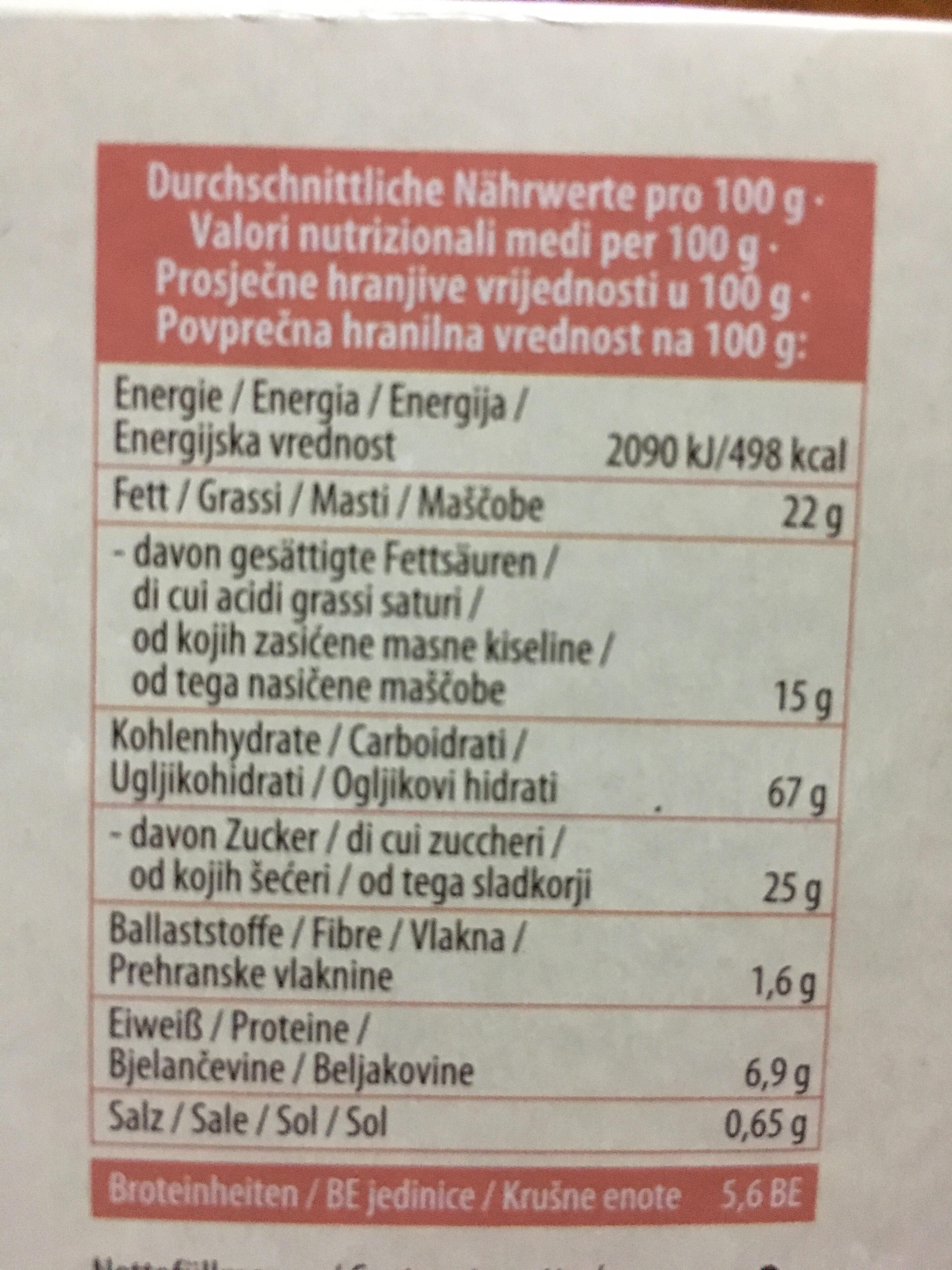 Butter waffeln - Informations nutritionnelles - de