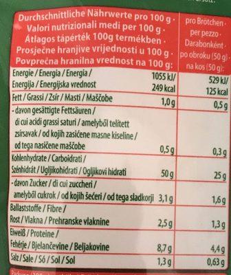 6 Brötchen - Nutrition facts