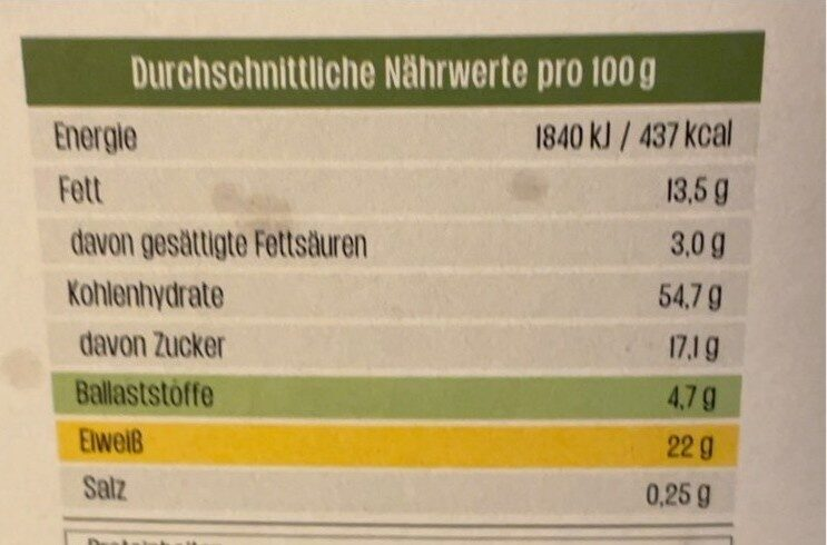 Knuspermüsli Schoko-Kürbis - Informations nutritionnelles - de