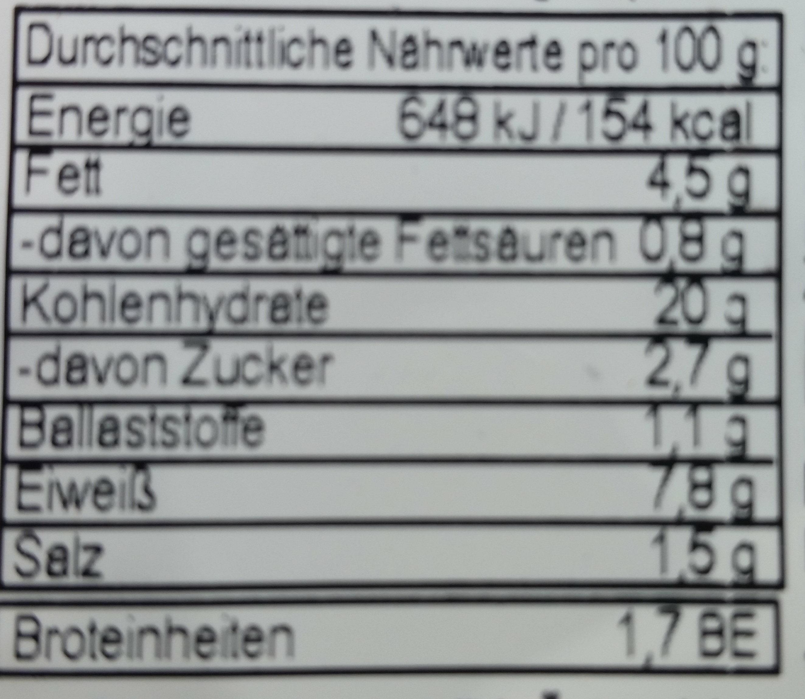 Fusilli mit Thunfisch und Tomaten - Informations nutritionnelles - de
