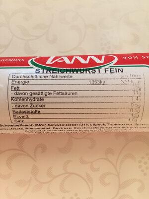 Streichwurst fein - Nährwertangaben - de