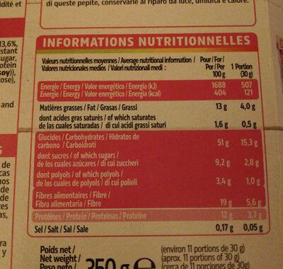 pépites aux cranberries - Nutrition facts - en