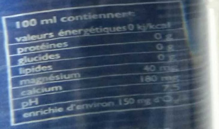 Oxygizer - Nutrition facts